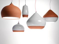 Terracotta Pendants by Thomas Housden, handandeyestudio via a designforwife: Available in three sizes and a variety of colors.  #Lamps #Terracotta_Pendant #handandeyestudio