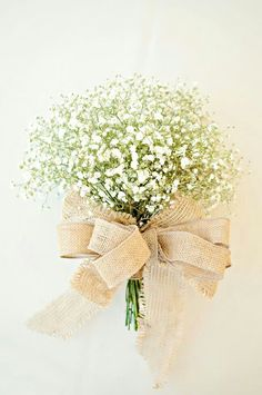 Baby's Breath Wedding Bouquet Hand Tied With Burlap Ribbons••••