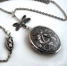 Etched Silver Locket  Flight of the Dragonfly by TrashAndTrinkets