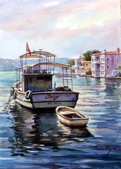 Omer Banana … watercolor painting with Omer Banana You can call 0216 565 3572 for more information about Hobby Arts Center … Source by venussanat Oil Painting Pictures, Painting Words, Boat Painting, Art Pictures, Watercolor Scenery, Art Watercolor, Watercolor Landscape, Seascape Paintings, Landscape Paintings