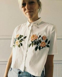 embroidery flower shirt button up summer rose vintage