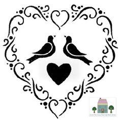EVERLONG VINTAGE SHABBY CHIC FURNITURE SHABBY CHIC HEART STENCIL - LOVE BIRDS A5