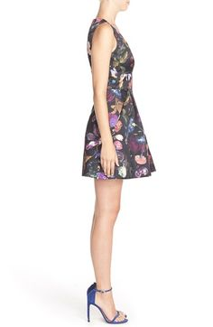 CythiaRowley'Winter' Floral Print Woven Fit & Flare Dress | Nordstrom