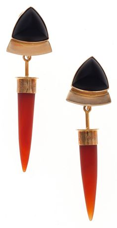 Black Onyx, Carnelian, Gold Earrings, Charlotte Quinn The earrings feature carved black onyx and carnelian, set in 14k gold.