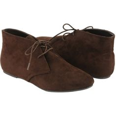 Faux Suede Chukkas ($30) ❤ liked on Polyvore featuring shoes, boots, flats, zapatos, round toe flats, lace up flats, pointed shoes, chukka shoes and pointed lace up flats