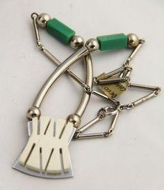ANTIQUE Jewelry JAKOB BENGEL GALALITH & CHROME MACHINE AGE ART DECO NECKLACE #2