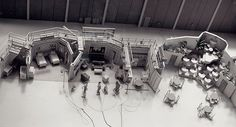 "An overhead shot of the complete set of ""I Love Lucy"" as it was set up during the filming of the show."