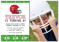 Football Helmet Kid's Birthday Party Invitation