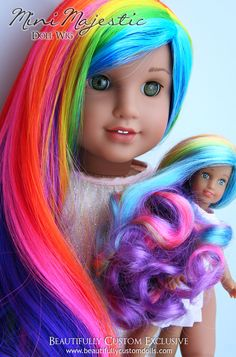 "Mini Majestic Rainbow Dazzle Colored Doll Wig for Custom 6"" MINI American Girl Dolls and Our Generation Lori Dolls, Fits Size 4"" Wig Cap: Beautifully Custom Dolls Exclusive"