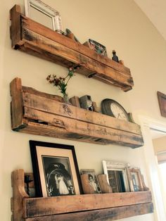 reclaimed wood shelves. would love to put these in our master bathroom.