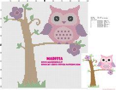 patrón de punto de cruz búho rosado en el árbol