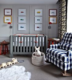 Gray And Blue Boys Transportation Nursery With Gingham Rocker Crib Vehicle Art