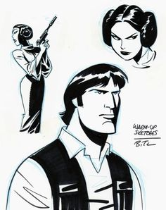 Princess Leia & Han Solo warm-up sketches by Bruce Timm