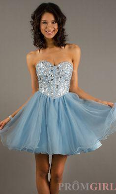 Beaded Light Blue Strapless Short Dress for Homecoming ...