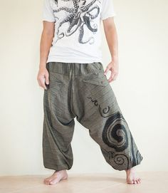 Harem Unisex Pants Kanok Swirl Curl Low Crotch by AmazingThaiStore, $38.00