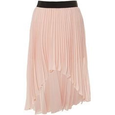 Miso Chiffon Pleated Skirt (3.540 HUF) ❤ liked on Polyvore featuring skirts, bottoms, saias, pink pleated skirt, pleated skirt, pink chiffon skirt, chiffon skirt and hi lo skirt