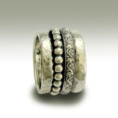 Sterling silver band with detailed silver spinners - The moon and the sky.