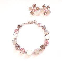 Pink, Grey and White Swarovski Crystals Adjustable Bracelet // Bridal , Wedding , Party, Prom, Hollywood, Sabika Style  by ParisOhLaLa, $34.99