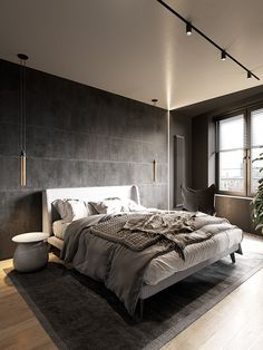 Dark interior design ideas, featuring two modern home interiors with black accent living rooms, grey kitchens, dark bathroom design, and a stylish grey bedroom. Small Apartment Layout, Small Apartments, Loft Interior, Interior Design Living Room, Scandinavian Style Home, Appartement Design, Living Room Accents, Dark Interiors, Lofts