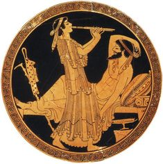 Odysseus and Calypso. Red-figure vase. Clay.Paris, Louvre Museum.: