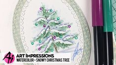 Ai Watercolor - Snowy Christmas Tree