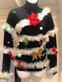 Excited to share this item from my shop: Ugly Christmas Sweater Homemade Ugly Christmas Sweater, Christmas Tree Ugly Sweater, Christmas Sweaters For Women, Tacky Christmas, Funny Christmas, Christmas Stuff, Christmas Crafts, Cute Christmas Outfits, Christmas Clothes