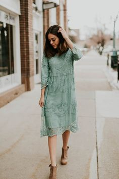 """Soft lace fully lined midi with 3/4 sleeves. Available in Sage, Cool Blue, Lavender, Blush & Oatmeal SIZING S/M (2-8) M/L (8-14) Model is size 2/4 & 5'6"""" wearing S/M"""