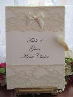 D0056 VICTORIANA A5 GUEST MENU CHOICE BOOKLET, Vintage Lace Wedding Cards