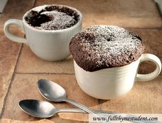 2-minute Microwave Chocolate Cake Recipe Desserts with all purpose unbleached flour, white sugar, unsweetened cocoa powder, baking soda, table salt, vegetable oil, milk, vanilla extract, chocolate chips