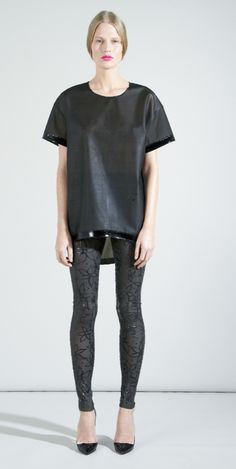 embossed leggings and baggy T S/S13