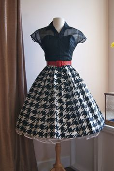 1950's Silk Dress with Houndstooth Skirt