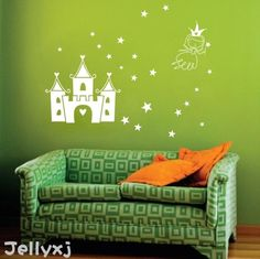 Princess with the Castle vinyl wall decal wall by WallDecalsTime, $45.00