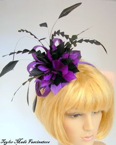 Purple and black fascinator