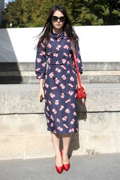 the perfect patterned dress with red accents