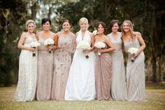 Elegant mismatched champagne bridesmaid dresses (Photo by Woodland Fields Photography)