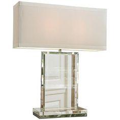 Clear Crystal Slab Rectangular Table Lamp
