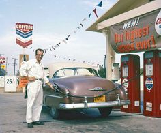 1950s Chevy Hardtop at a Chevron Station