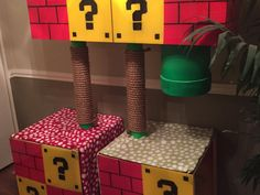 Level up your cat condo game with a custom-made Super Mario-themed feline playhouse complete with functional warp pipes. Cat Tree Condo, Cat Condo, Super Mario Cat, Cat Playground, Level Up, Diy Stuffed Animals, Play Houses, Kitty, Treehouse