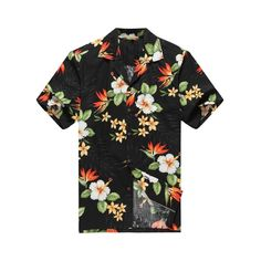 a6e304713 Made in Hawaii Men Aloha Shirt Luau Cruise Tropical Flowers Bird Paradise  Black