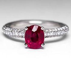Simon G Ruby Engagement Ring w/ Diamonds in 18K White Gold
