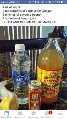 tablespoons of apple cider vinegar 2 pinches of cayenne pepper and lemon juice. 2 tablespoons of apple cider vinegar 2 pinches of cayenne pepper and lemon juice. - tablespoons of apple cider vinegar 2 pinches of cayenne pepper and lemon juice. Healthy Detox, Healthy Drinks, Easy Detox, Healthy Water, Detox Foods, Healthy Tips, Body Detox Drinks, Apple Cider Vinegar Remedies, Belly Fat Burner Workout