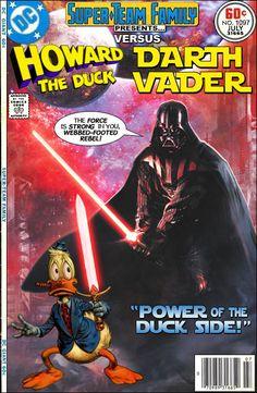 Howard the Duck versus Darth Vader Dc Comics, Star Wars Comics, Star Wars Art, Avengers Comics, Comic Book Covers, Comic Books Art, Comic Art, Joker Comic, Book Art