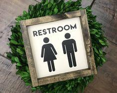 Mini Collection - Restroom +NEW sizes! | Bathroom Wall Decor | Farmhouse Bathroom Sign | Wood Framed Sign | Farmhouse Sign | Farmhouse Decor, Rustic Decor, modern country, farmhouse, home decor, diy decor, living room, dining room, kitchen, family room,
