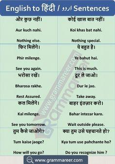 Hindi to English Sentences Translation Examples Used in Daily Life Improve English Grammar, Basic English Sentences, Advanced English Vocabulary, Teaching English Grammar, English Vocabulary Words, Learn English Words, Grammar Book, English Learning Books, English Learning Spoken