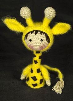 Crocheted Small Giraffe Doll. Tanoshi series toy.