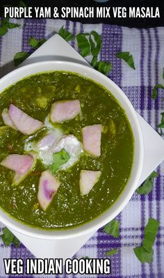 Veg Indian Cooking: Kand Aur Palak Ki Sabzi (Purple Yam And Spinach Mi... HOW TO PREPARE BAINGANI RATALU AUR PALAK KI SABZI | KAND AUR PALAK KI SABZI | PURPLE YAM AND SPINACH MIX VEG MASALA| RECIPE OF PURPLE VIOLET YUM COOKED WITH SPINACH. Purple yam is winter special vegetable. Purple yam is also known as Ratalu, Kand, Violet yam, Hiaaya, Uhi, Garadu and Indian purple yam. It is a root vegetable and a member of the Dioscoreaceae family,