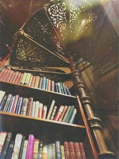 Image via We Heart It https://weheartit.com/entry/139833477/via/966820 #book #books #staircase #stairs #vintage #wood