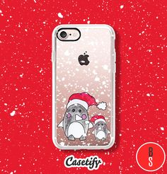 Casetify iPhone 7 Case and Other iPhone Covers - Christmas Winter Penguins Hand Painted Watercolor Cute Illustration by designer BlackStrawberry | #Casetify