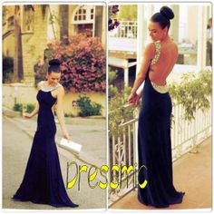 Long Sexy Backless Prom Dress Floorlength Bead Prom by Dressmic, $159.00