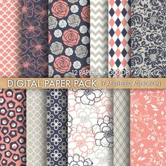 Pink Navy Blue White Damask Floral Geometric Digital Paper for Personal or Commercial Use - 12 Sheets - 300 DPI - 12343. $3.00, via Etsy.
